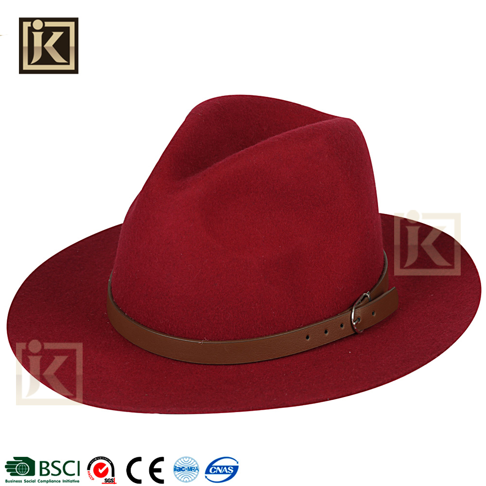 JAKIJAYI wholesale hat supplier custom 100% wool panama hillbilly wool felt hat