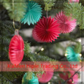 Tissue Paper Fan Collection Red Green Celebration Christmas hanging decoration production