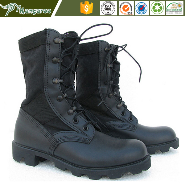 Full Grain Leather Waterproof Canvas Combat Jungle Military Boots