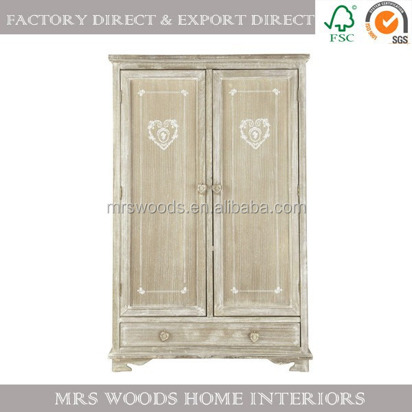 MW Home french antique vintage paulownia natural 2 doors 1 drawer furniture bedroom wardrobe design pictures wooden wardrobe