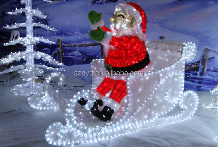 2015 outdoor christmas decorations of sleigh and santa for Large christmas decorations