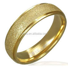 6mm Gold Plate Stainless Steel Sandblasted Ring