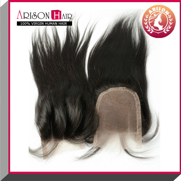 2014 new arrive hot selling lace closure in natural color straight three part lace closure