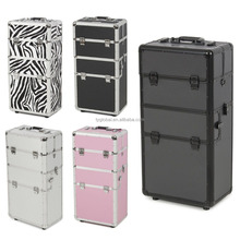 Aluminium Rolling Makeup Case Travel Cosmetic Makeup Trolley Case