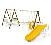 Low price high quality outdoor playground plastic slide and swing set for 3-14years kids