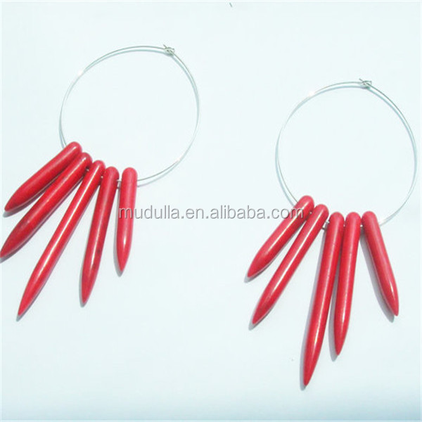 E02190 Cheap Druzy Crystal Earrings Silver Plated Red Hoop Earrings Jewelry