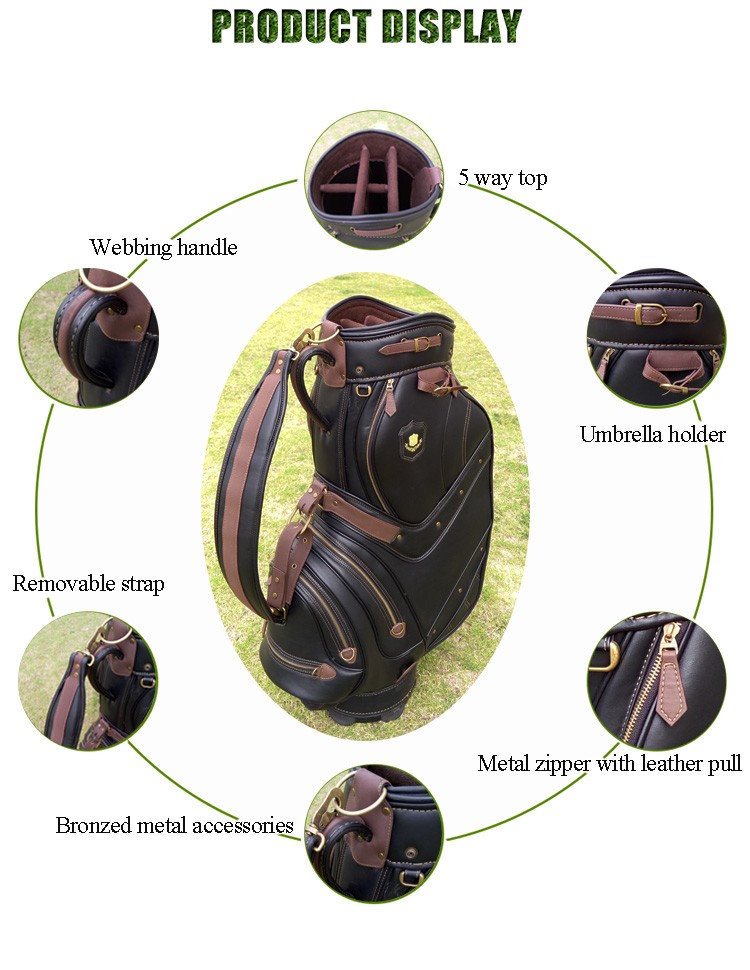 Antique Leather Custom Golf Cart Bag