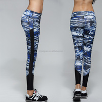 2016 newest fashion pants running tight gym pants women colorful printing leggings mesh pannel new design
