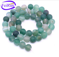 8 10mm green stripe agate string polished, natural semi gemstone