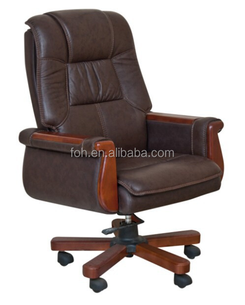 Genuine Leather Executive Office Leather Wooden Chair(FOH-B80)