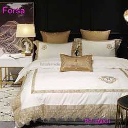 PP-460C1 Romantic Bedding Sets Luxury Lace Embroidery Bedsheet Set