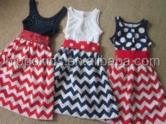 Wholesale children cotton frocks designs sleeveless chevron tunic dresses July 4th patriotic baby girl dress
