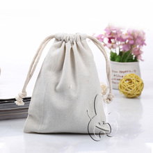 wholesale white blank small canvas drawstring bag for promotion