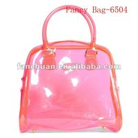 fashion new design red PVC transparent handbag
