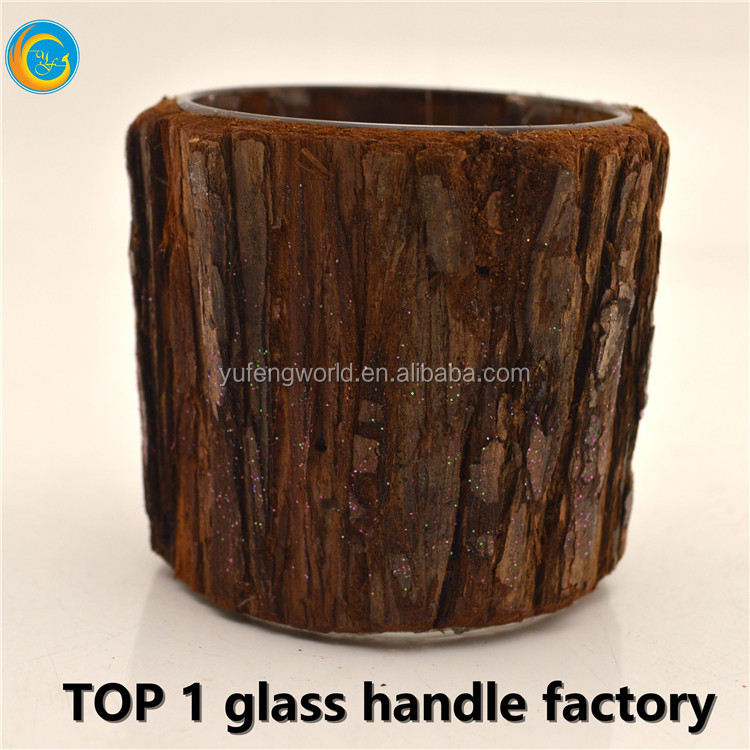 nature materal bark glass candle holder