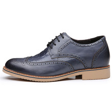 Height Increasing Elevator Brogue Formal Leather Shoes For Men