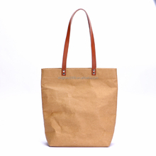 High quality waterproof foldable kraft paper handbag ,Japanese style cheap kraft tote bag for daily life