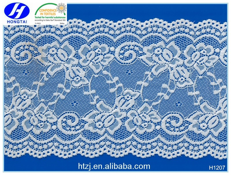 2016 white wholesale stretch lace trim/laces embroidery from hongtai