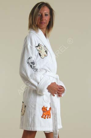 cat appliqued bathrobe100 cotton terry clothshort robe buy bathrobe product on alibabacom - Terry Cloth Robe