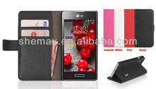 2014 Shemax New Model wallet leather flip cover case for LG L5 II