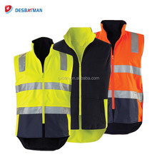 High Quality Winter Hi Vis Reflective Reversible Safety Vest 3M