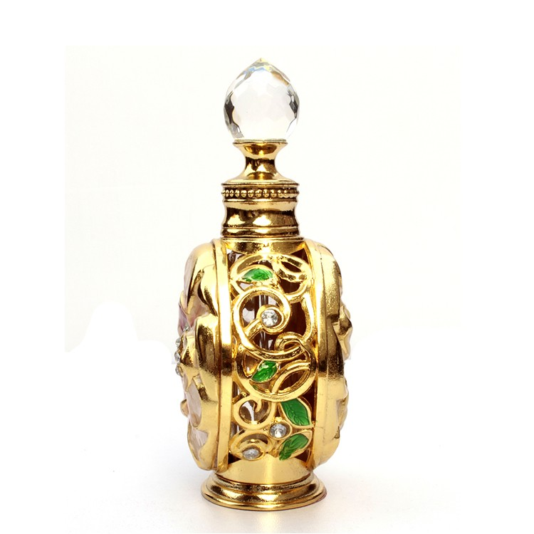 12ml Empty Glass Oudh Perfume Empty Glass Bottle With Tassel Golden Cap Roll On