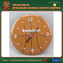 Unique custom design polyresin basketball wall clock different shape with great price