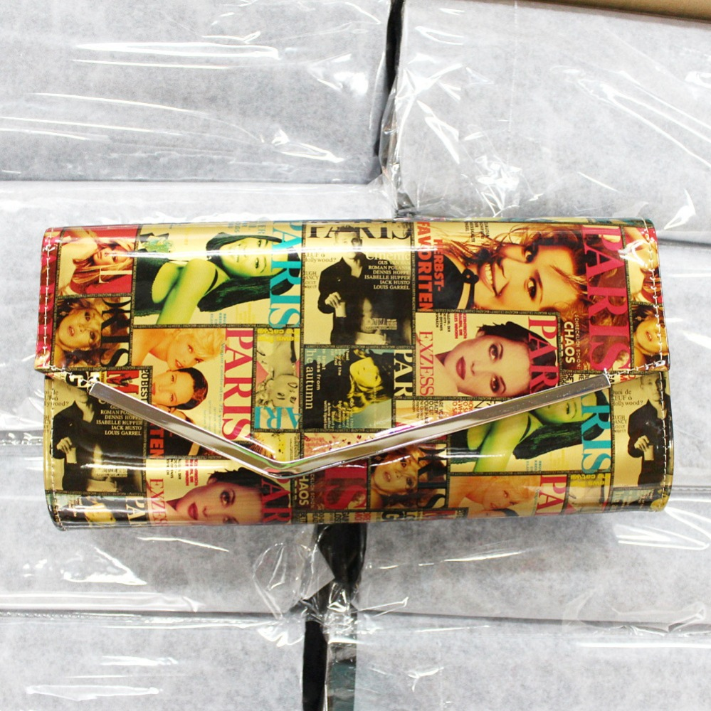 Latest Design Ladies PU Clutches Purse In Evening Bag With Vogue Magazine Pattern