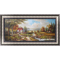 Hand-painted village scenery drawing for wall art