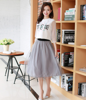 W50418Q 2015 European summer fashion dress suit small fragrant wind sleeve ladies temperament organza skirt suit