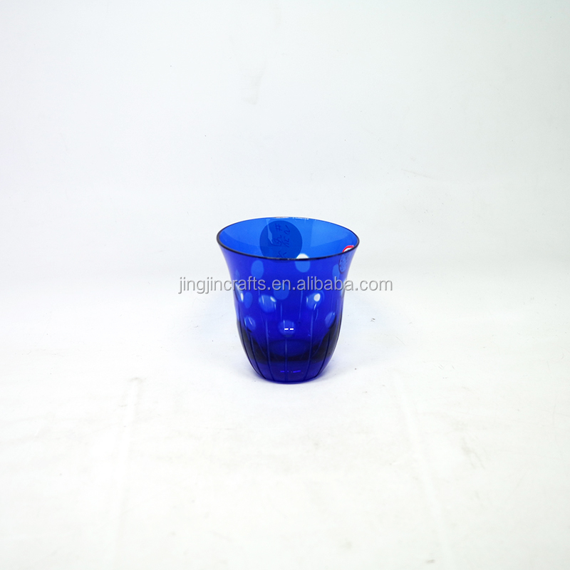 120ml Wholesale Blue Colored Engraved Glass Tumbler Tea Cup Wine Cup