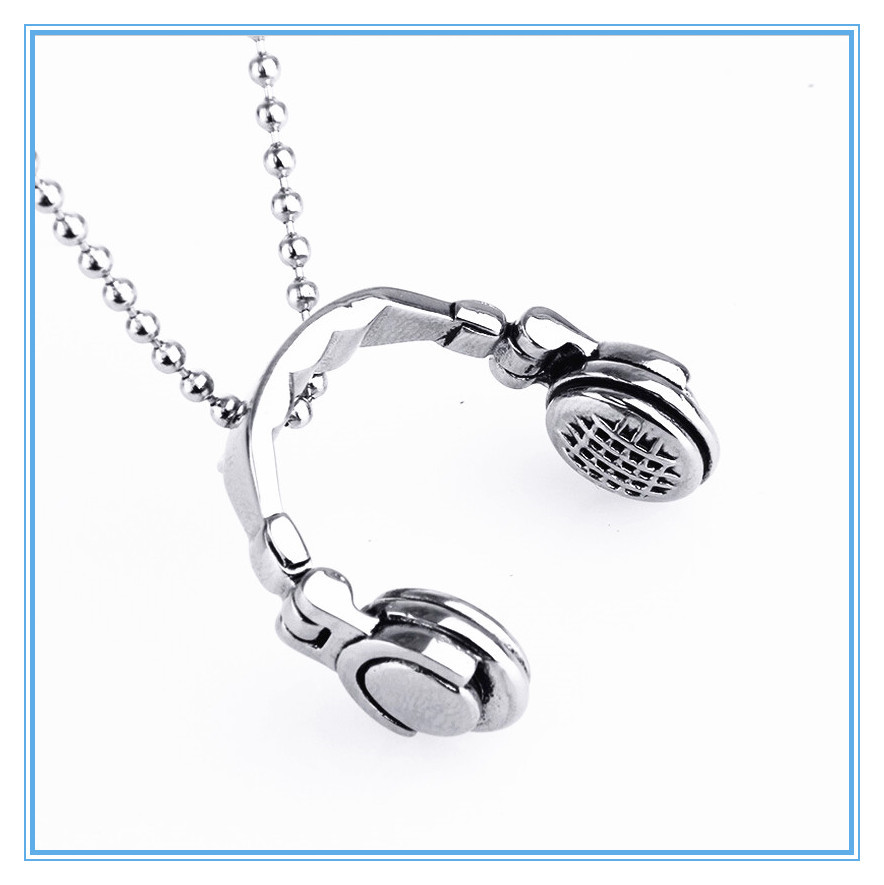 MECYLIFE aliexpress and ebay hot selling stainless steel earphone pendant necklace