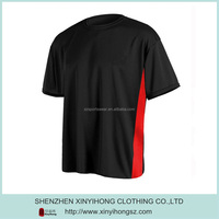 Black color dry fit t shirts with red contrast side panel