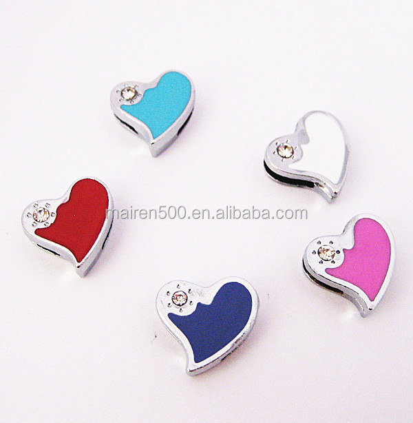 wholesale chain for jewelry making hot pink heart metal craft 8mm slide charms