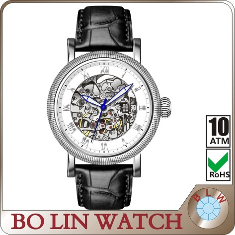 mens gold watches top brand, hollow skeleton watch, automatic watch japan 8N24