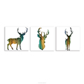 Silhouette of Deer Pine Forest Scenery Canvas Prints Home Wall Decorative Animal Giclee Print 3 Pieces Living Room Art Decor