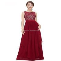 Hot wedding dress for lace jointing chiffon floor length dresses,sleeveless high waist empty back apparel OEM