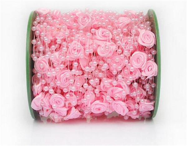 30meters/roll 4mm Handmade Rose Flower Fish Line Garland Hanging Bead Chains Wedding Bridal Hair Accessory