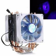 High Quality Blue LED Light 12V Dual CPU Cooler Fan Quiet 92x92x25mm 3pin Powerful Fan for Intel LGA775/1156/1155 for AMD AM
