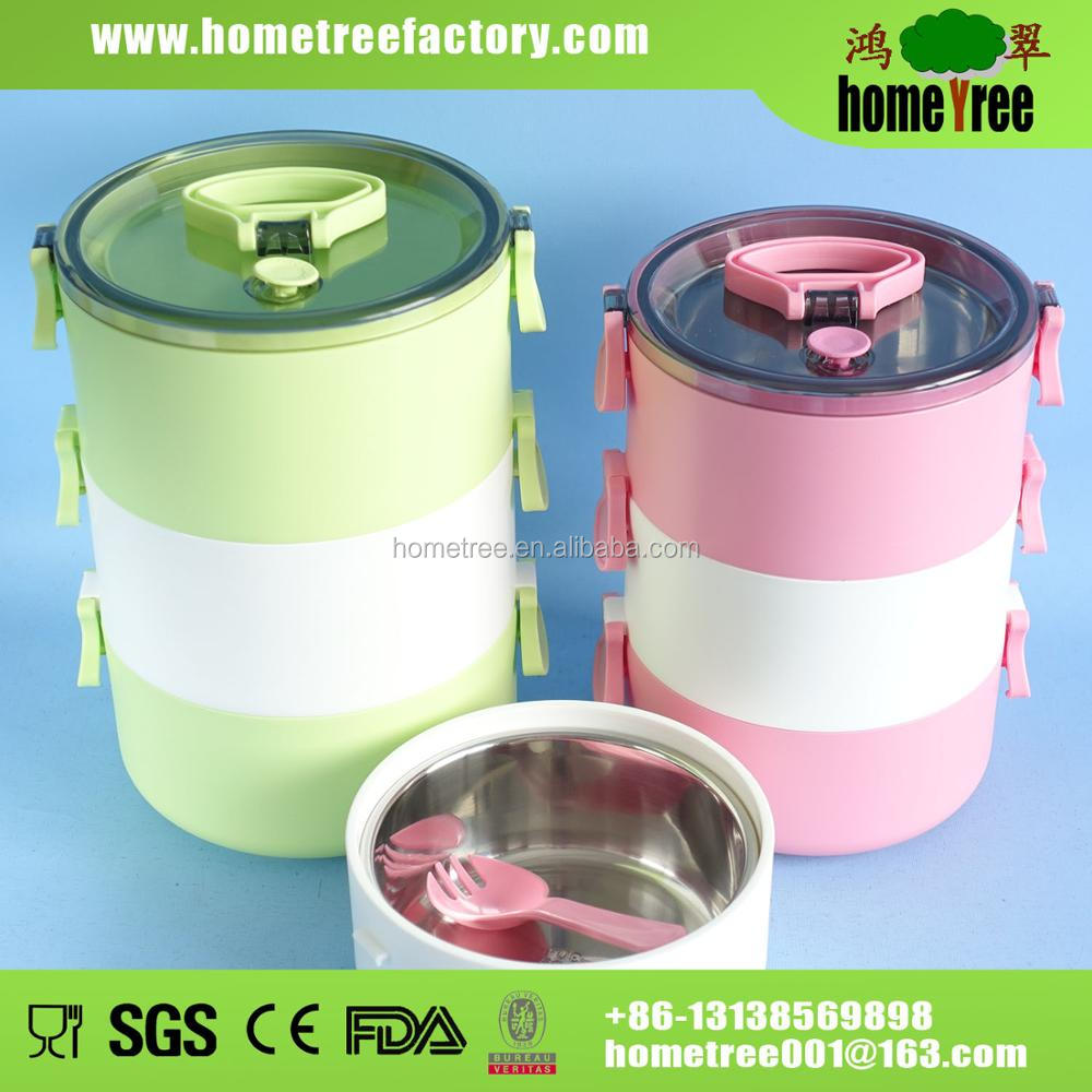 Round 3 Layer Stackable 304 Stainless Steel Lunch Box With Spoon