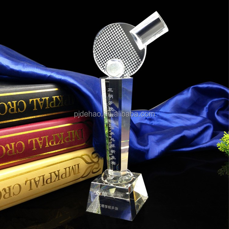 Wholesale Logo Engraving Glass Trophy K9 Crystal Table Tennis Trophy