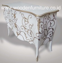 Wooden White Painted Commode Antique Reproduction Chest of Drawers Vintage European Home Furniture French Style Bedroom