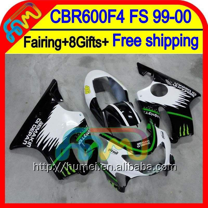 8Gifts For HONDA CBR600F4 99-00 Black white Fairings CBR 600F4 53HM27 CBR600 F4 CBR 600 F4 99 00 1999 2000 Green white Fairing