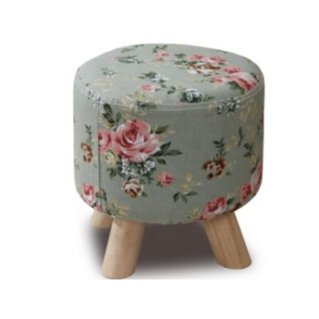 Hot Wholesale Round Fabric Wood Ottoman Foot Stool With 3 Wooden Legs For Living Room Furniture