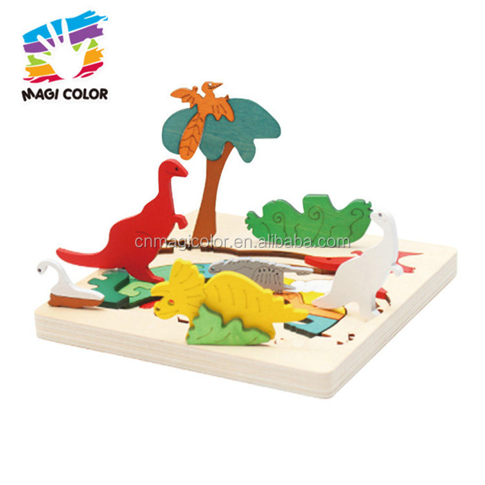 2017 wholesale educational baby wooden 3d puzzle identify animals kids wooden 3d puzzle W14C250
