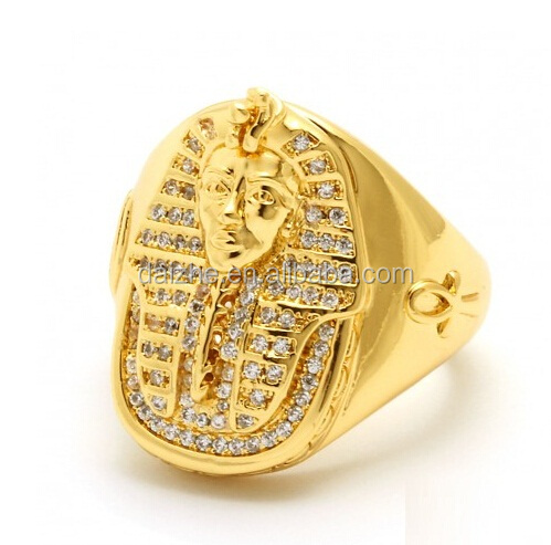 high quality pave cubic zirconia gold plated cz mens Pharaoh head ring with Egyptian ANKH Cross