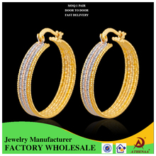 Two-tone Hoop Latest Design Daily Wear Jewelry 5-line Charm Metal Earring