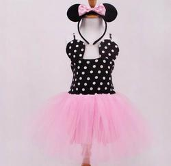 2016 Girl Minnie Dress Child Kids Dot Red Gauze Fashion Cute Clothes with Hair band