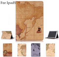 Wholesale cheap Price Map Pattern leather wallet case for ipad 5 cover