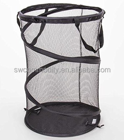 mesh foldable laundry hamper/ black collapsible storage basket/pop up laundry basket with handles
